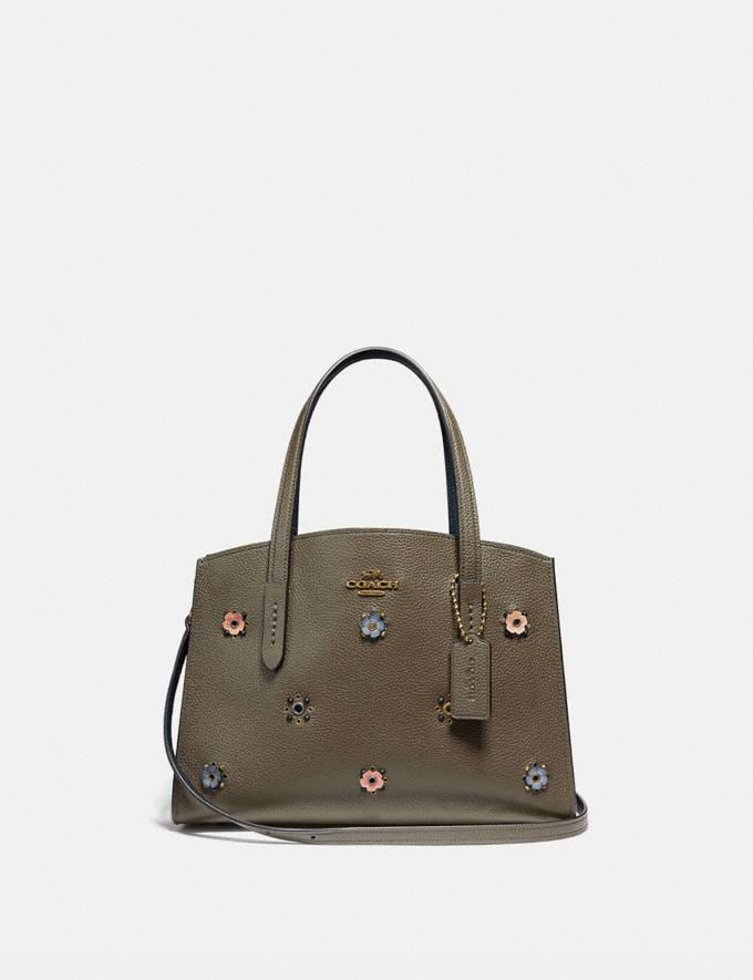 Coach Charlie Carryall 28 With Scattered Rivets Brass/Moss Women Handbags Satchels & Carryalls