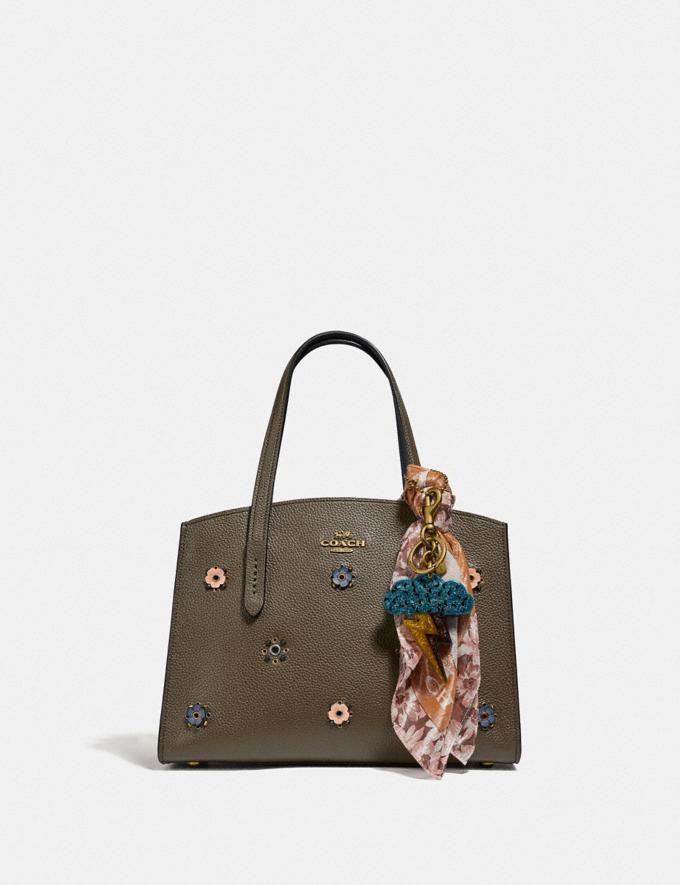 Coach Charlie Carryall 28 With Scattered Rivets Brass/Moss New Women's New Arrivals Bags Alternate View 3