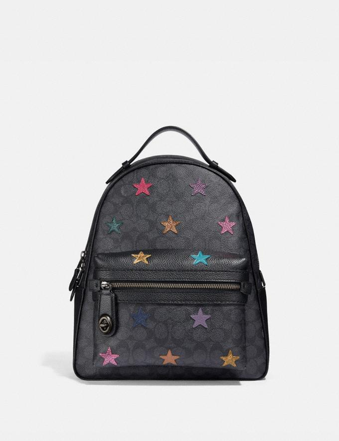 110efb9de Coach Campus Backpack in Signature Canvas With Star Applique and Snakeskin  Detail Charcoal/Multi/