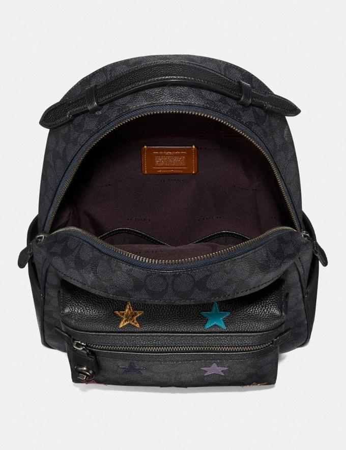 Coach Campus Backpack in Signature Canvas With Star Applique and Snakeskin Detail Charcoal/Multi/Pewter Members Only Members Only Alternate View 2