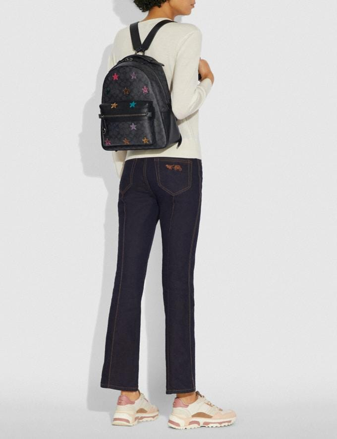 Coach Campus Backpack in Signature Canvas With Star Applique and Snakeskin Detail Charcoal/Multi/Pewter Members Only Members Only Alternate View 3