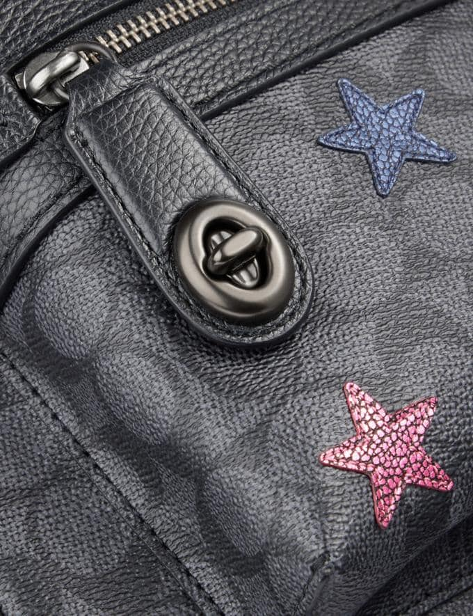 Coach Campus Backpack in Signature Canvas With Star Applique and Snakeskin Detail Charcoal/Multi/Pewter Members Only Members Only Alternate View 4