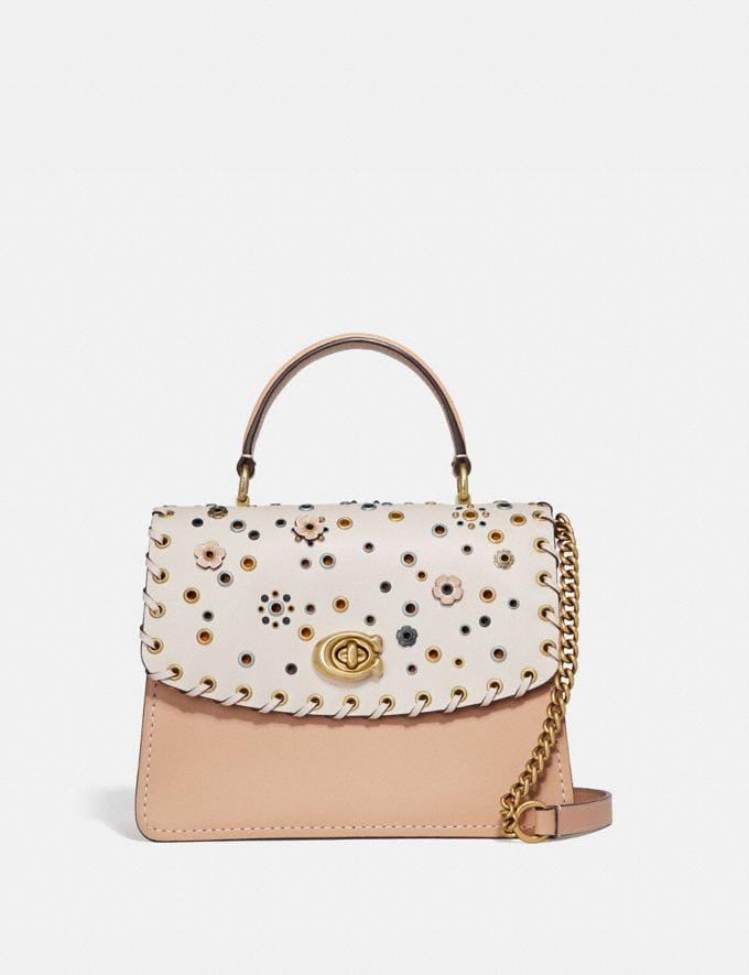 Coach Parker Top Handle With Scattered Rivets Brass/Chalk Multi Women Bags Satchels