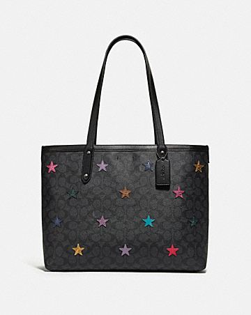 ed2d272e860 CENTRAL TOTE IN SIGNATURE CANVAS WITH STAR APPLIQUE AND SNAKESKIN DETAIL ...