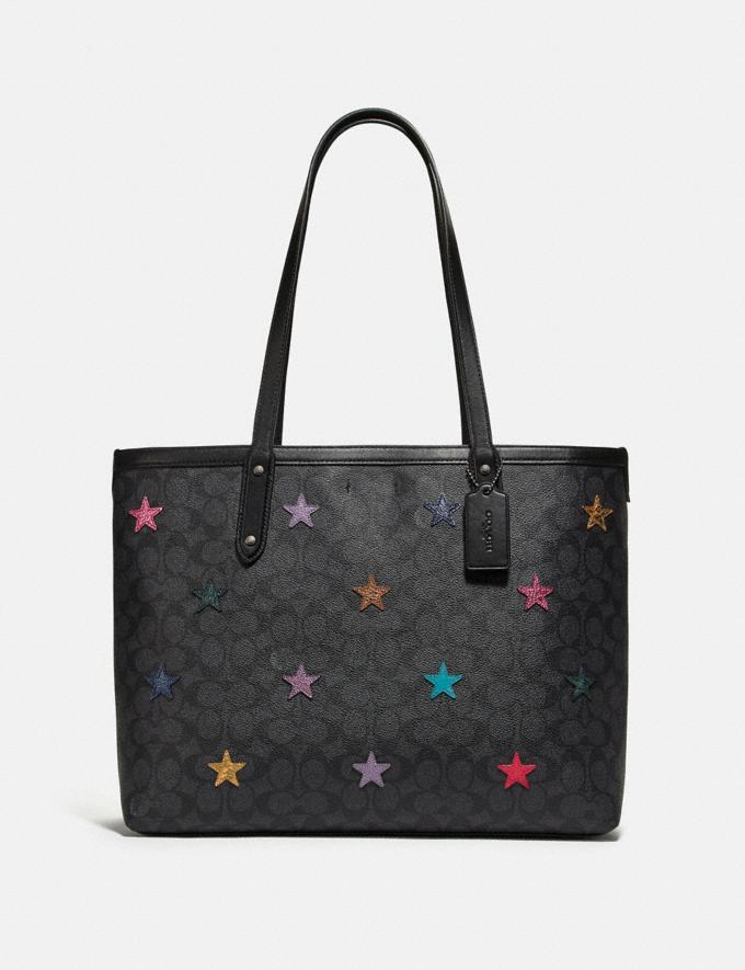 Coach Central Tote in Signature Canvas With Star Applique and Snakeskin Detail Charcoal/Multi/Pewter Women Handbags Totes
