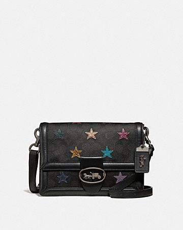4cc62b27b RILEY SHOULDER BAG IN SIGNATURE CANVAS WITH STAR APPLIQUE AND SNAKESKIN  DETAIL ...