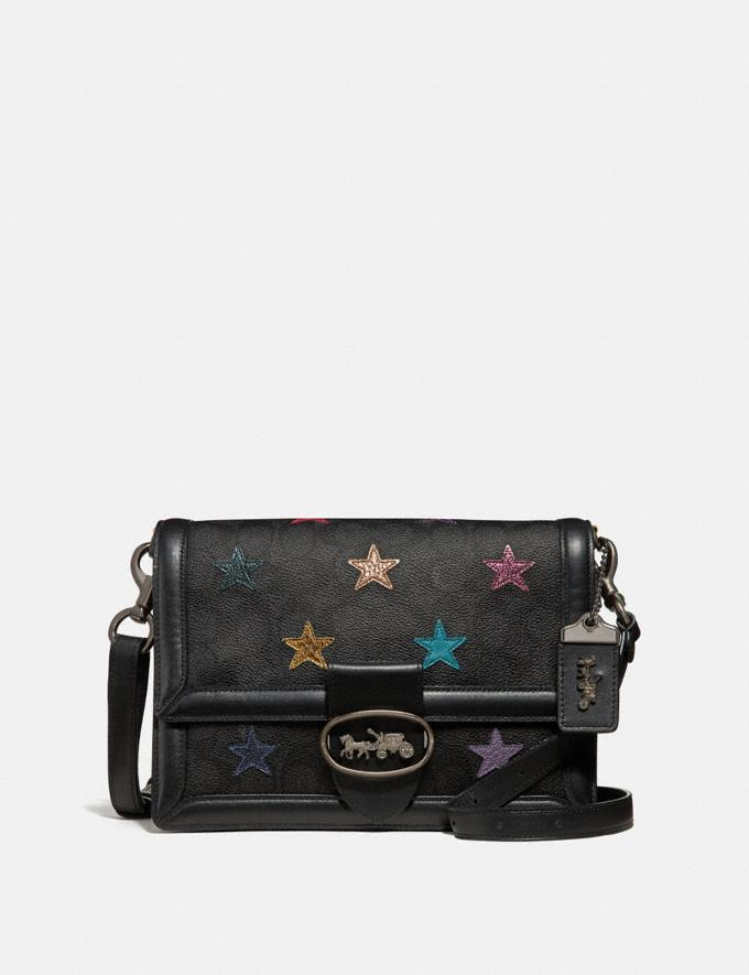 Coach Riley Shoulder Bag in Signature Canvas With Star Applique and Snakeskin Detail Charcoal/Multi/Pewter