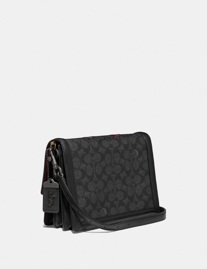 Coach Riley Shoulder Bag in Signature Canvas With Star Applique and Snakeskin Detail Charcoal/Multi/Pewter  Alternate View 1