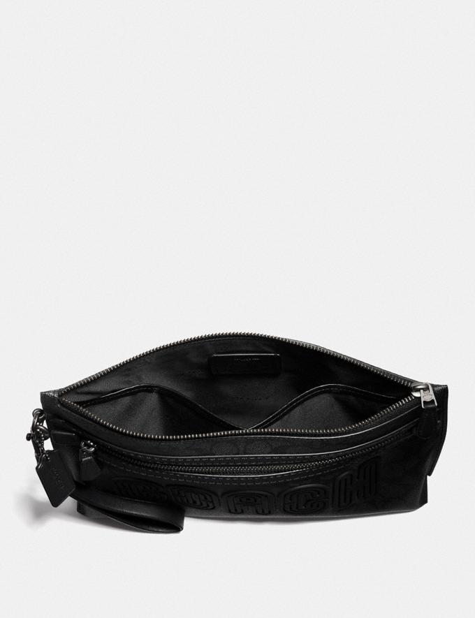 Coach Academy Pouch in Signature Canvas With Coach Print Charcoal Men Bags Pouches Alternate View 1