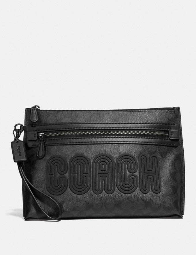 Coach Academy Pouch in Signature Canvas With Coach Print Charcoal Men Bags Pouches