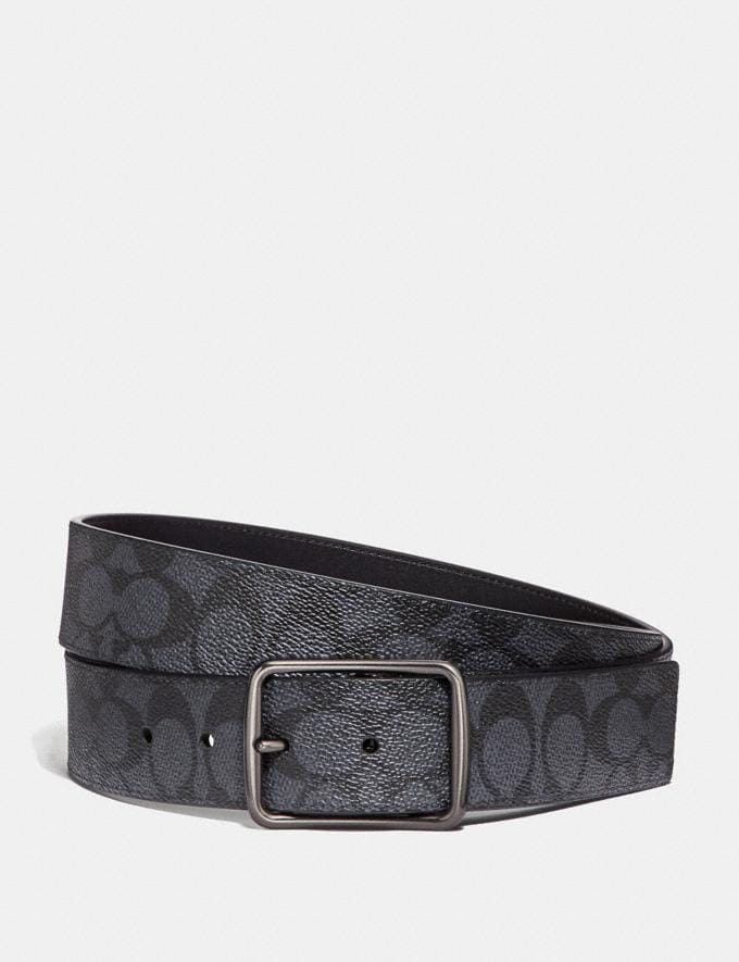 Coach Harness Buckle Cut-To-Size Reversible Belt, 38mm Charcoal Men Accessories Belts