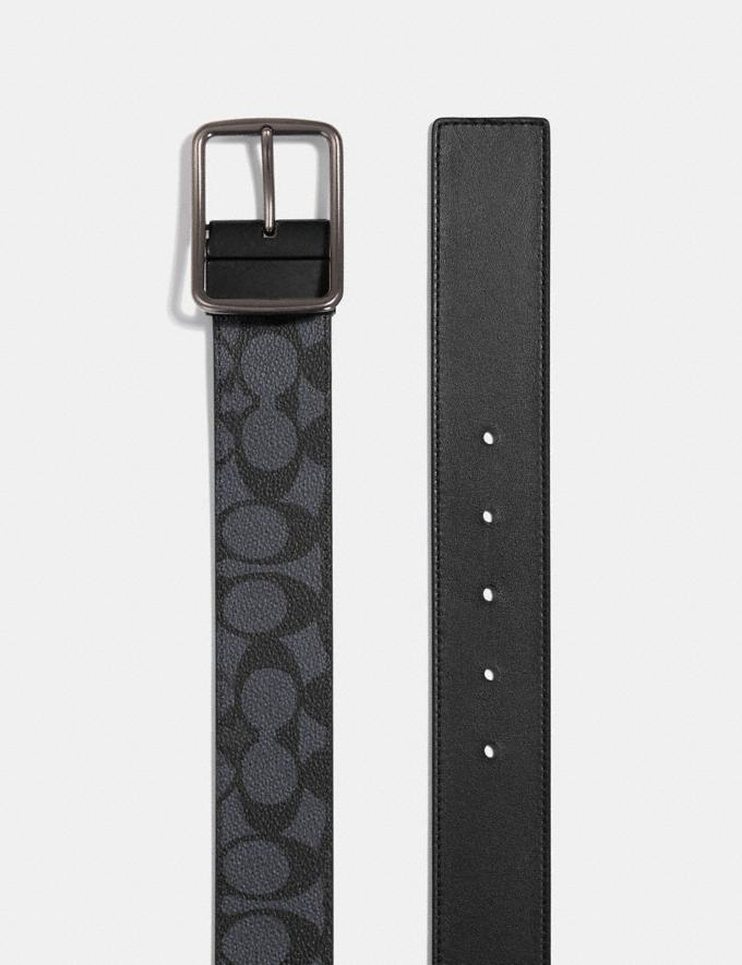 Coach Harness Buckle Cut-To-Size Reversible Belt, 38mm Charcoal Men Accessories Belts Alternate View 1