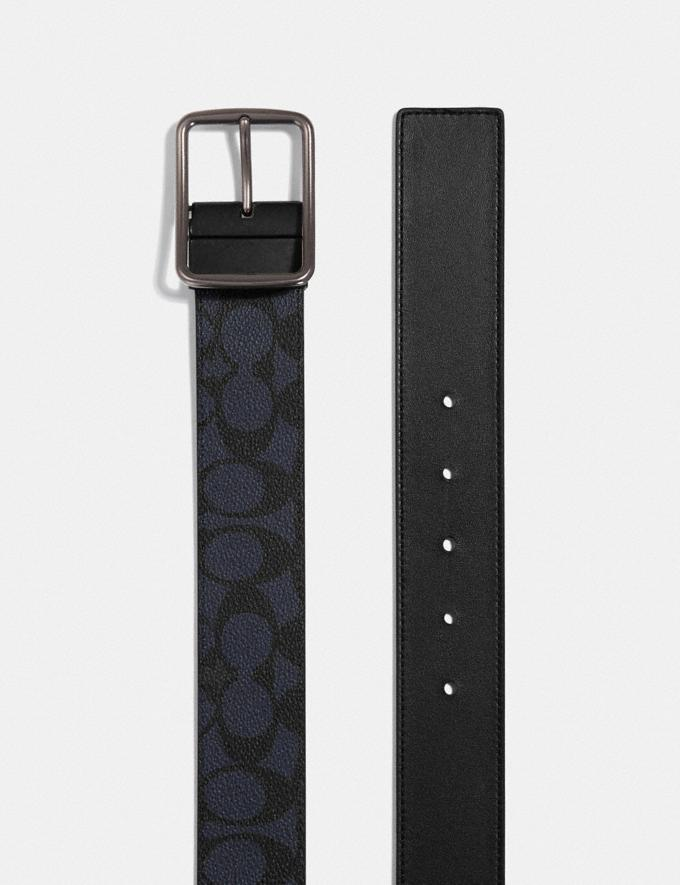 Coach Cut-To-Size Reversible Belt in Signature Canvas Midnight Men Accessories Belts Alternate View 1