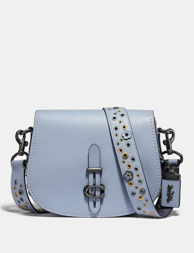 Coach Saddle With Scattered Rivets Pewter/Mist Women Bags Crossbody Bags