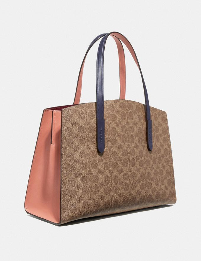 Coach Charlie Carryall in Colorblock Signature Canvas Tan/Ink Light Peach/Brass Women Bags Alternate View 1