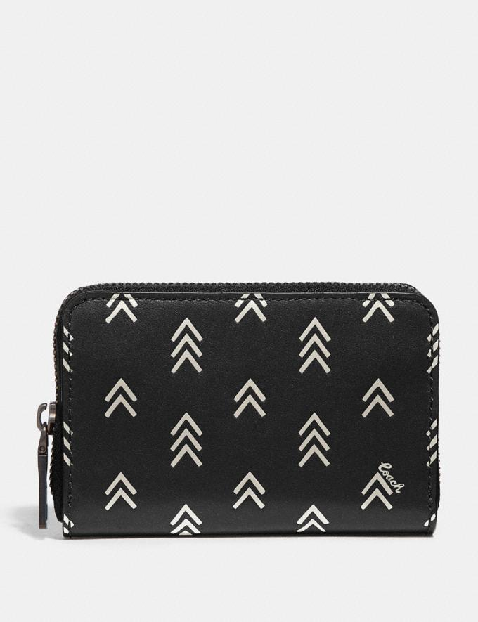 Coach Accordion Card Case With Line Arrow Print Black/Chalk Men Wallets Large Wallets