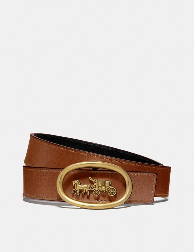 Coach Horse and Carriage Buckle Belt Saddle/Black/Brass New Women's New Arrivals Accessories
