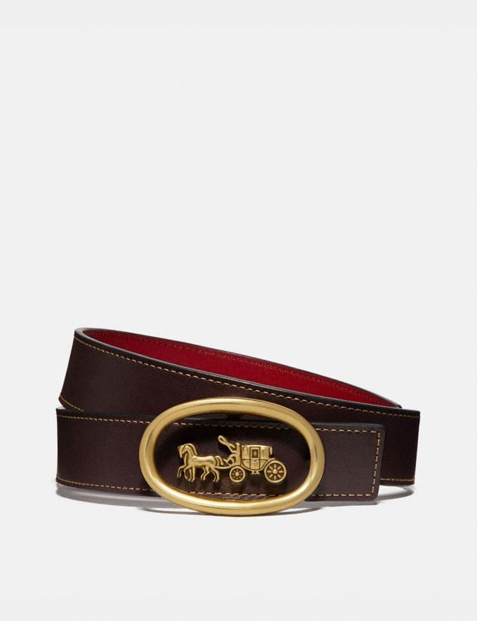 Coach Horse and Carriage Buckle Belt, 32mm Oxblood/1941 Red/Brass