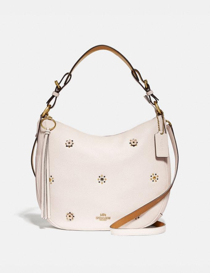 Coach Sutton Hobo With Scattered Rivets Brass/Chalk Women Bags Shoulder Bags
