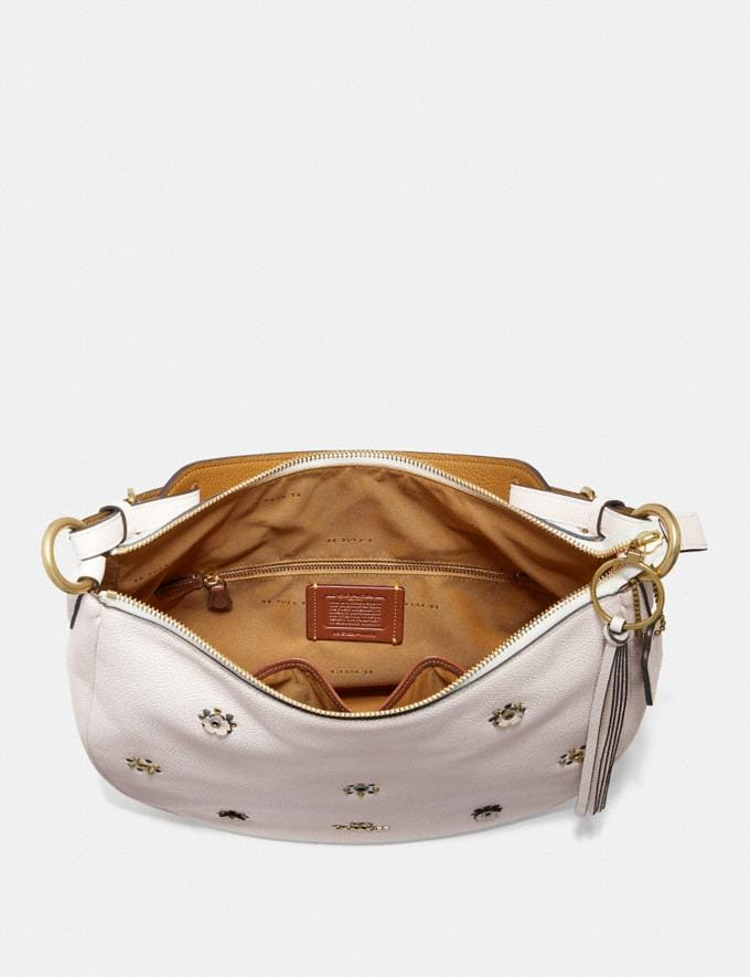 Coach Sutton Hobo With Scattered Rivets Brass/Chalk Women Bags Shoulder Bags Alternate View 2