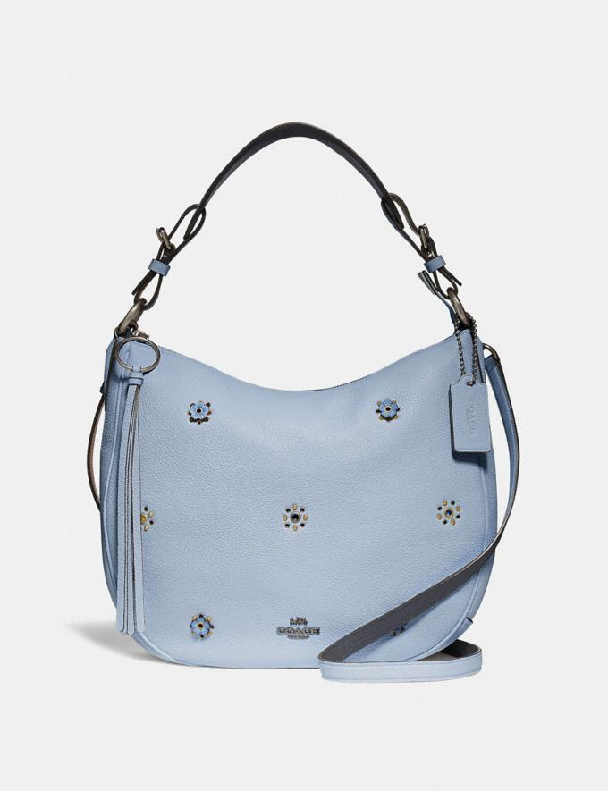 Coach Sutton Hobo With Scattered Rivets Pewter/Mist