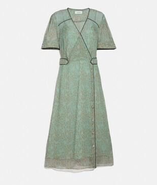 PRINTED LONG CHIFFON V-NECK DRESS