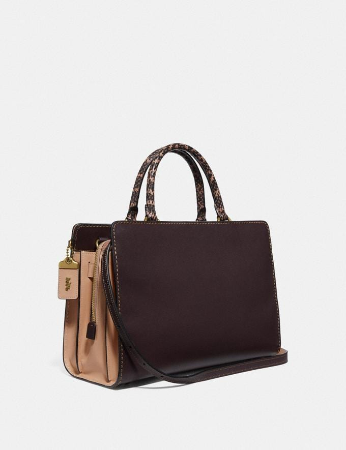 Coach Serra Satchel in Colorblock Brass/Oxblood Multi Women Bags Satchels & Carryalls Alternate View 1