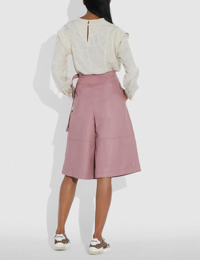 Coach Leather Culottes Evening Rose Women Ready-to-Wear Bottoms Alternate View 2