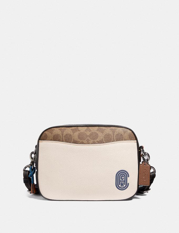 Coach Camera Bag in Signature Canvas With Coach Patch Tan/Chalk Multi/Gunmetal New Featured Online-Only