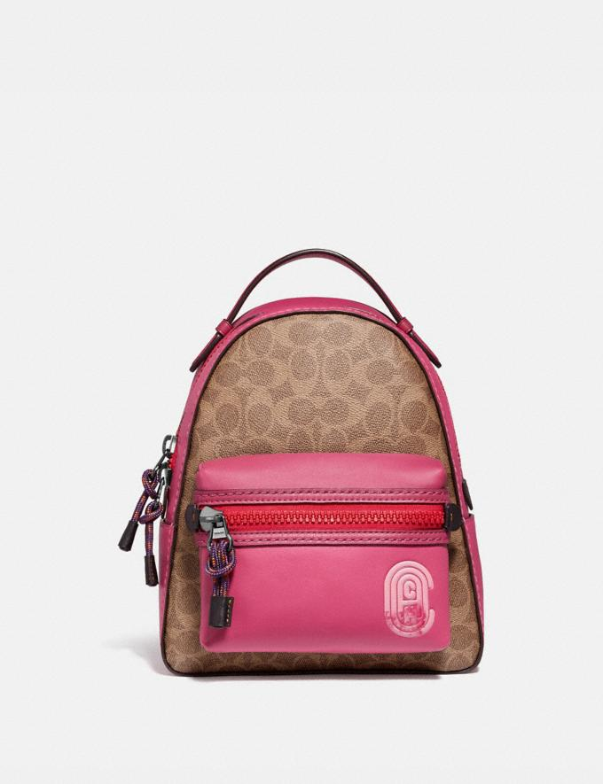 Coach Campus Backpack 23 in Signature Canvas With Coach Patch Tan/Bright Cherry Multi/Gunmetal