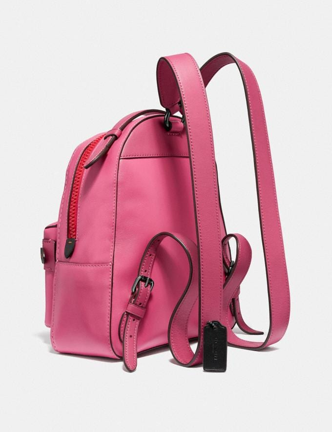 Coach Campus Backpack 23 in Signature Canvas With Coach Patch Tan/Bright Cherry Multi/Gunmetal Women Bags Backpacks Alternate View 1