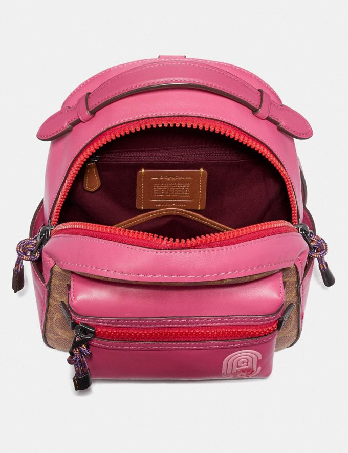 Coach Campus Backpack 23 in Signature Canvas With Coach Patch Tan/Bright Cherry Multi/Gunmetal  Alternate View 3