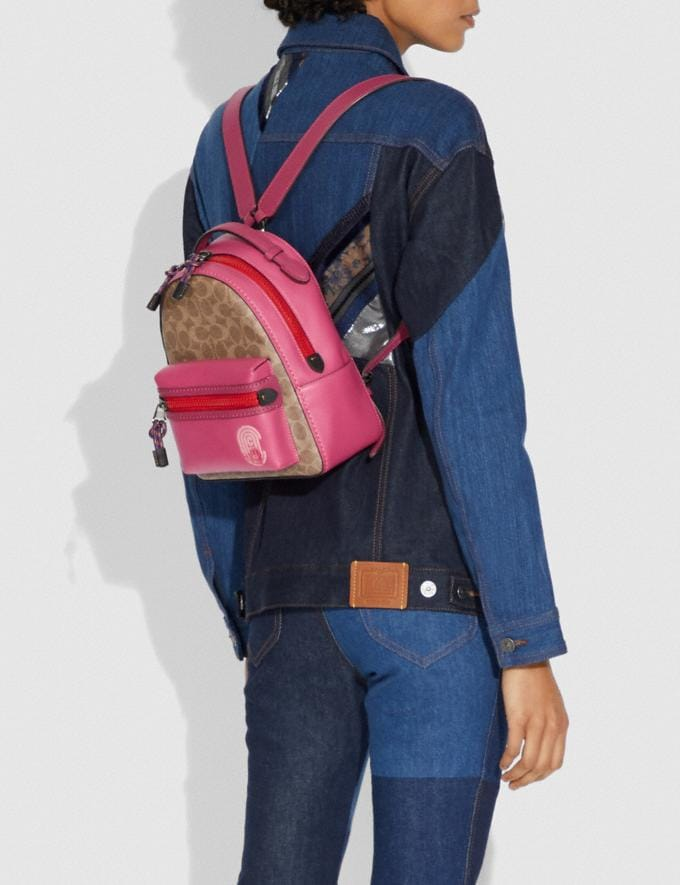 Coach Campus Backpack 23 in Signature Canvas With Coach Patch Tan/Bright Cherry Multi/Gunmetal  Alternate View 4