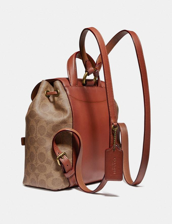 Coach Evie Backpack 22 in Signature Canvas Tan/Rust/Brass Women Edits Travel Alternate View 1