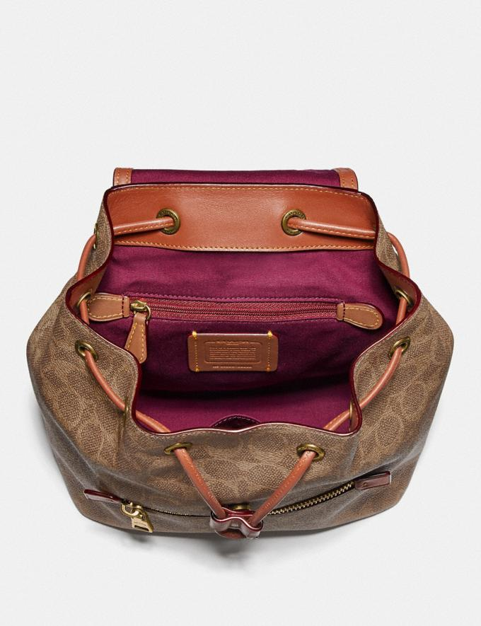 Coach Evie Backpack 22 in Signature Canvas Tan/Rust/Brass Women Edits Travel Alternate View 2