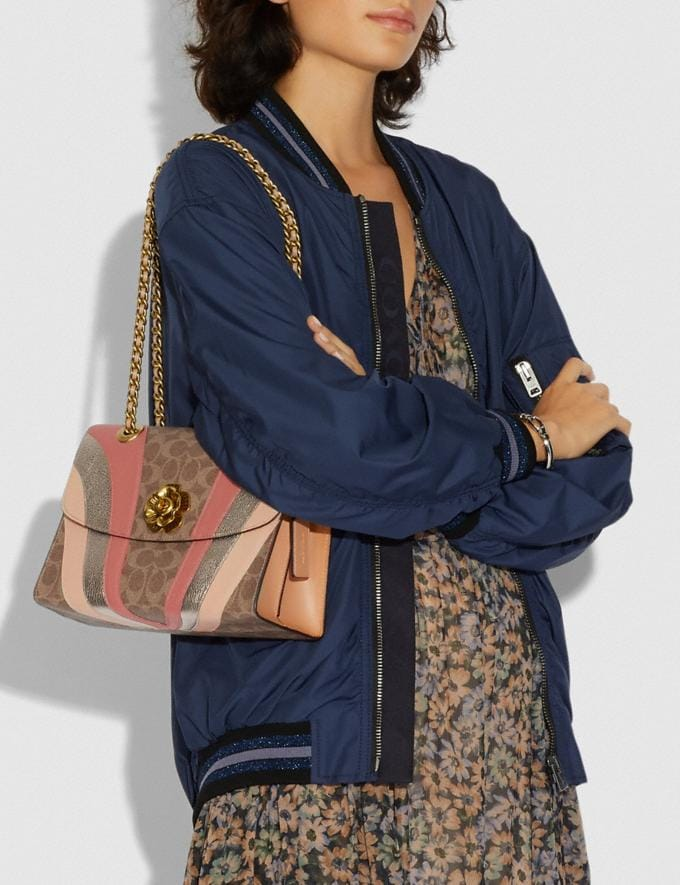 Coach Parker in Signature Canvas With Wave Patchwork Charcoal/Multi/Pewter Women Bags Shoulder Bags Alternate View 5