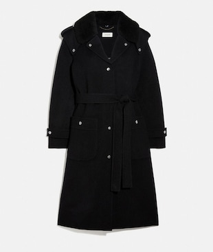 DOUBLE FACE MIDI COAT WITH REMOVABLE SHEARLING COLLAR
