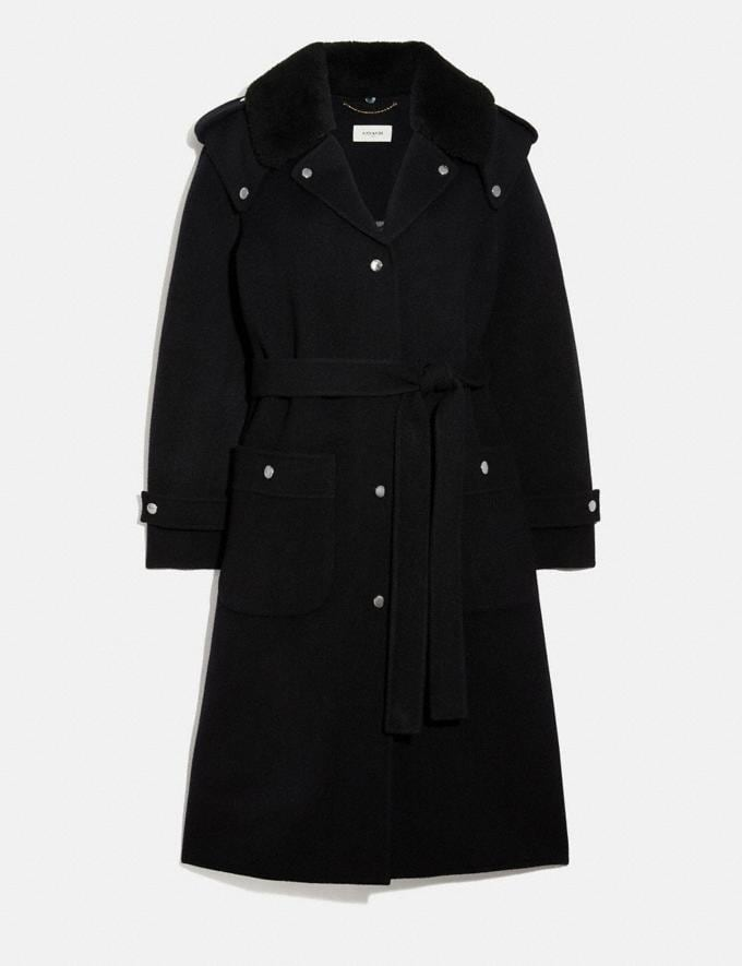 Coach Double Face Midi Coat With Removable Shearling Collar Black Women Ready-to-Wear Jackets & Outerwear
