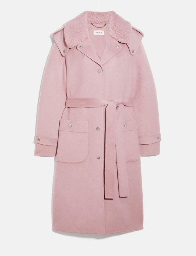 Coach Double Face Midi Coat With Removable Shearling Collar Mauve New Women's New Arrivals Ready-to-Wear