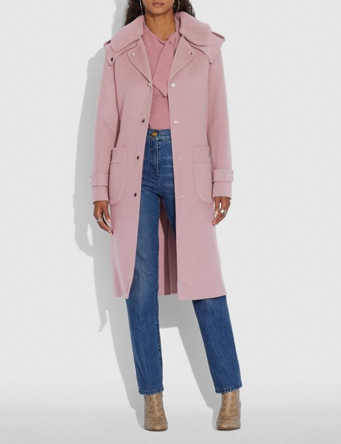 Coach Double Face Midi Coat With Removable Shearling Collar Mauve New Women's New Arrivals Ready-to-Wear Alternate View 1