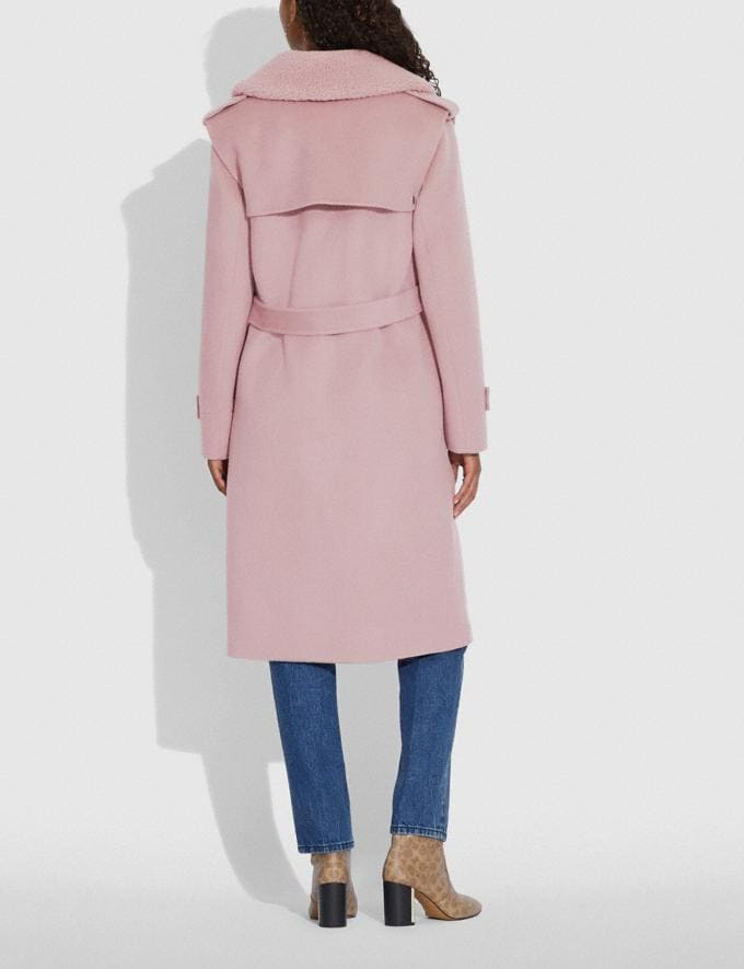 Coach Double Face Midi Coat With Removable Shearling Collar Mauve New Women's New Arrivals Ready-to-Wear Alternate View 2