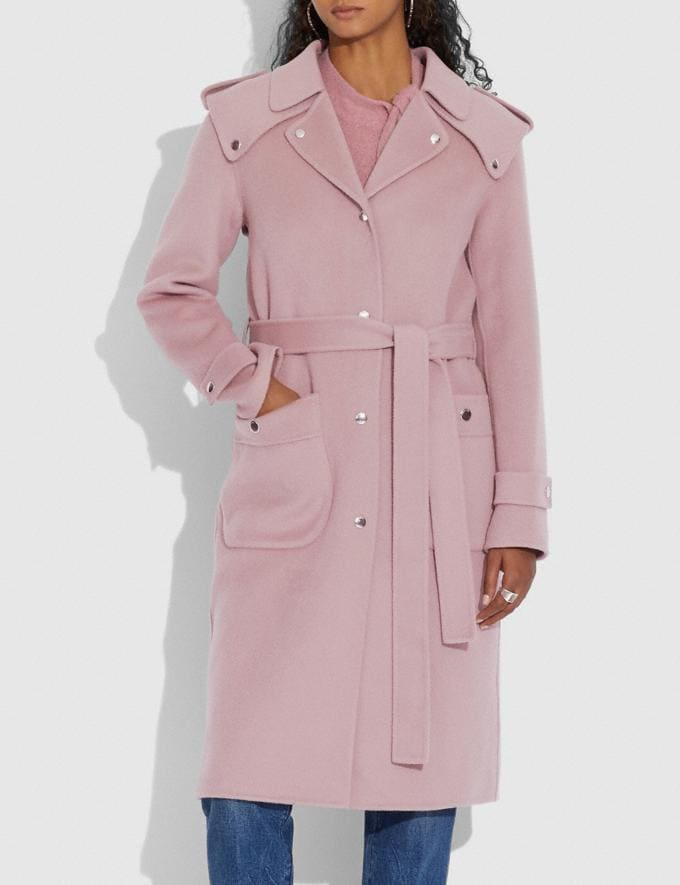 Coach Double Face Midi Coat With Removable Shearling Collar Mauve New Women's New Arrivals Ready-to-Wear Alternate View 3
