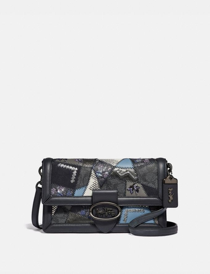 Coach Riley With Signature Patchwork Charcoal Slate Multi/Pewter Women Bags Crossbody Bags