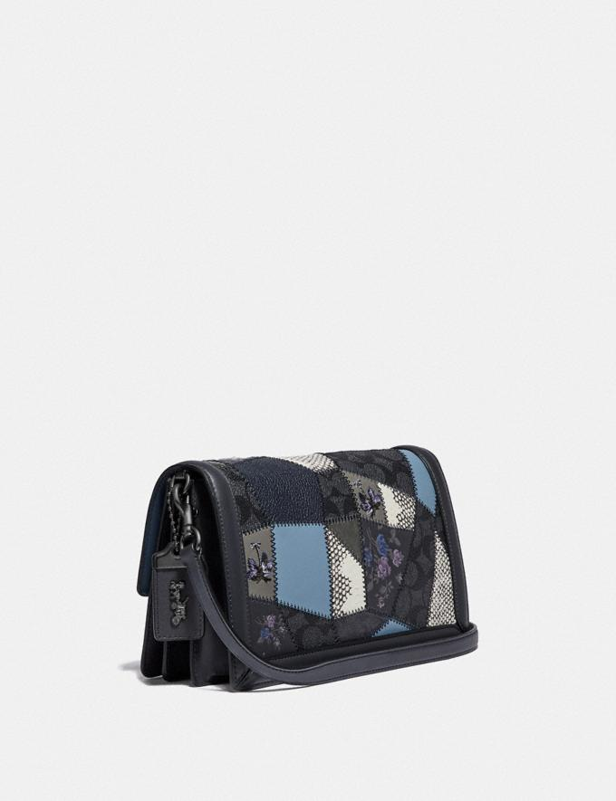 Coach Riley With Signature Patchwork Charcoal Slate Multi/Pewter Women Bags Crossbody Bags Alternate View 1
