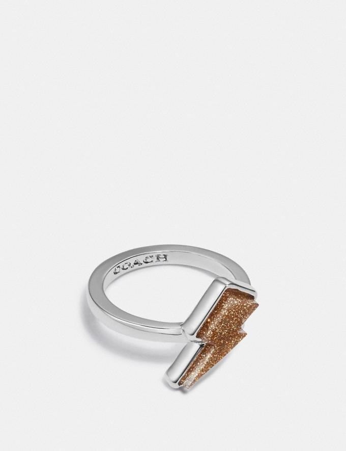 Coach Lightning Bolt Ring Silver/Yellow Women Accessories Jewellery Rings
