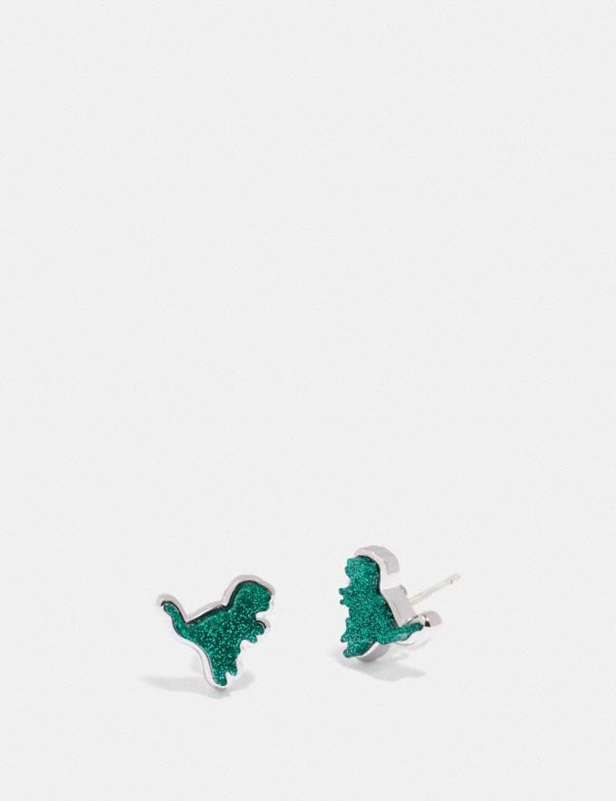 Coach Rexy Stud Earrings Silver/Green Women Accessories Jewellery Earrings