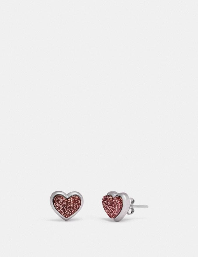 Coach Heart Stud Earrings Silver/Pink Gifts Holiday Shop Jewellery Gifts