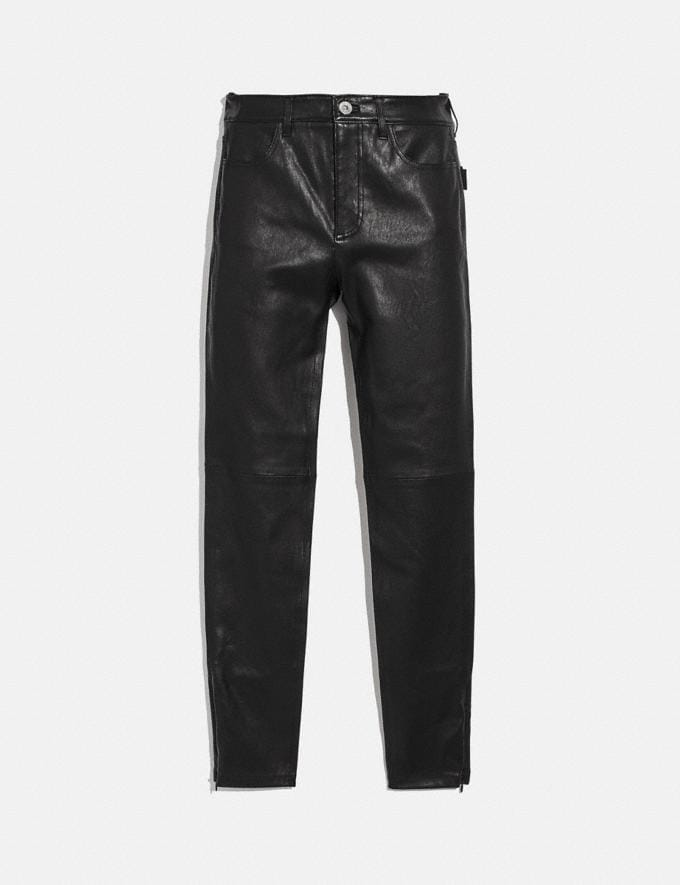 Coach Stretch Leather Pants Black Women Ready-to-Wear Bottoms