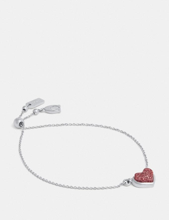 Coach Heart Chain Bracelet Silver/Pink Women Accessories Jewellery