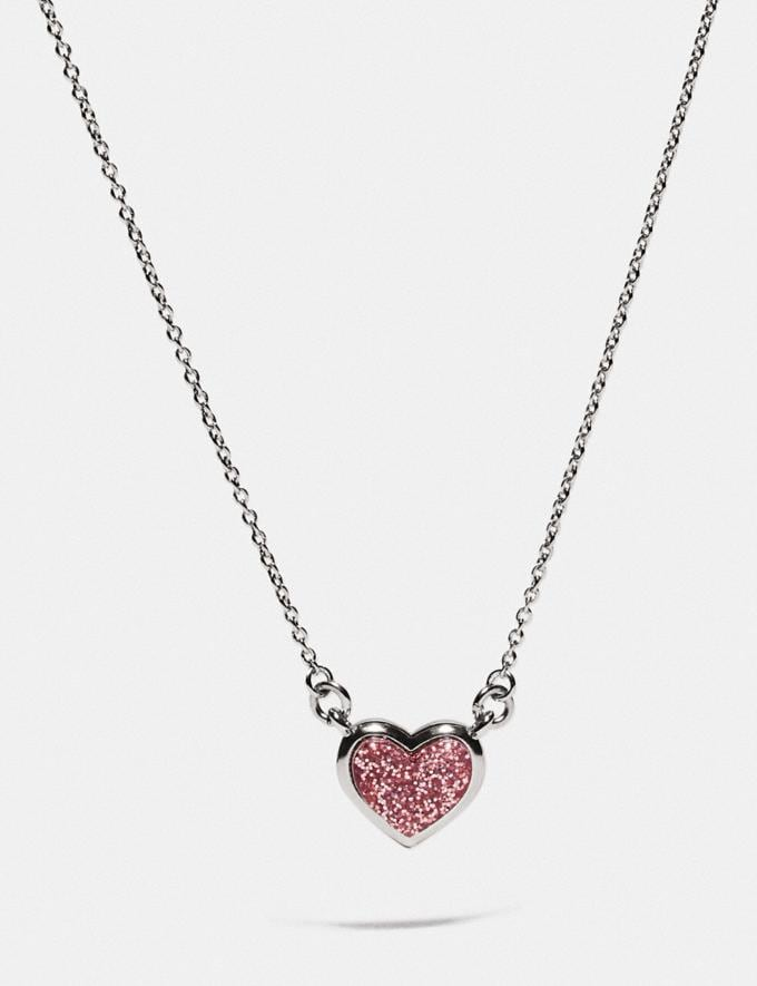 Coach Heart Necklace Silver/Pink New Men's Trends Denim